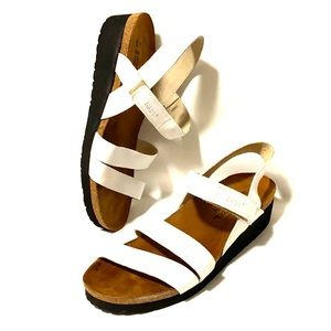 Naot White Leather Cork Bed Slingback Sandals 8